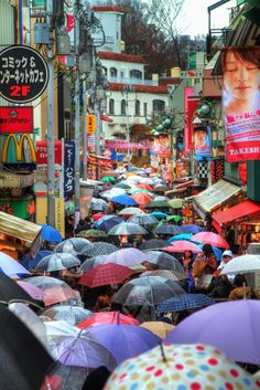 Colorful mass of umbrellas. A rainy weekend in Tokyo. Famous street in Harajuku. McDonald's golden arches. Photographer: Agustin Rafael C. Reyes.