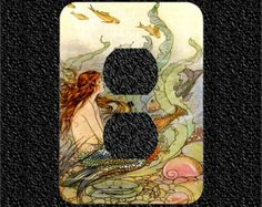 A little mermaid sits at the bottom of the ocean surounded by sea shells and fish on a single toggle oversized light switch plate cover. The vintage artwork is a reprint by Elenore Plaisted Abbott, a famous illustrator from Maine, who lived from 1875-1935.  This vintage artwork is laser printed on quality photo paper and has been affixed to an OVERSIZED white metal light switch plate cover and finished with many coats of a crystal clear glaze. The glaze gives the illusion of depth and…