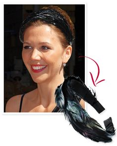 DIY Hair Accessories - The Inspiration: Maggie Gyllenhaal had feathers in her cap for a recent Late Show with David Letterman appearance.