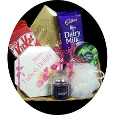 Gift basket includes - 	Turkish Delight Rose and Lemon 	Cadbury Dairy Milk block 	Lindt Lindor Assorted Chocoaltes 	Nestle Kit Kat Block 	Fragant Candle 	Nylon Loofa 	Foot treatment 	Massager Presented in a gift wrapped basket $69.95 #chocolate #yum #candle #pamper www.astylishcelebration.com.au
