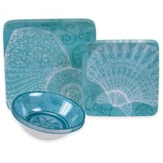 Certified International Aqua Treasures 12-Piece Dinnerware Set - BedBathandBeyond.com  sc 1 st  Pinterest & Non-Skid Starfish Luxury Melamine Dinnerware | Starfish Dinnerware ...