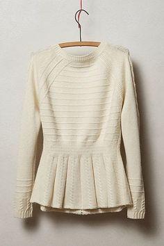 white peplum sweater