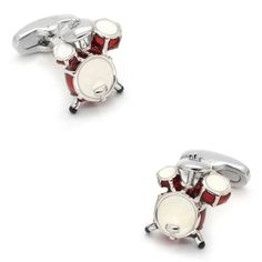 Surprise any drummer with these beautiful red and white drum kit cufflinks, and you'll be rewarded with hugs and kisses. A perfect gift for lovers of music, our replica drum kit cufflink set is designed by our expert craftsmen from top quality rhodium-plated silver and hand-finished in red and white enamel. #music #cufflinks #giftsformen