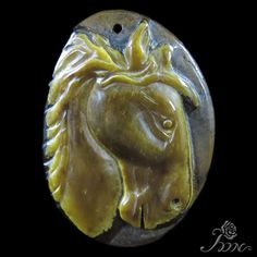 UNIQUE JEWELRY ACCESSORY PENDANT HAND CARVED HORSE TIGER'S EYE STONE H30576 #ZL #Pendant