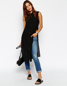 Find the best selection of ASOS Sleeveless Longline Maxi Blouse. Shop today with free delivery and returns (Ts&Cs apply) with ASOS! Look Fashion, Indian Fashion, Mode Outfits, Fashion Outfits, Kurti With Jeans, Summer Outfits, Casual Outfits, Dress Over Pants, Mode Jeans