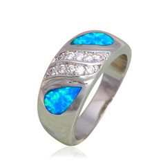 Blue Fire Opal And White Cubic Zirconia  White Gold Filled Ring Varius Sizes