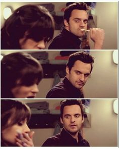 Nick looks at Jess Parking Spot) New Girl Nick And Jess, New Girl Tv Show, New Girl Quotes, Jake Johnson, Jessica Day, Boy Best Friend, The Way He Looks, Nick Miller, Zooey Deschanel