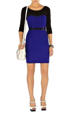 Karen Millen Contour Stitch Knit Dress Blue - suit-dresses.com - $89.34