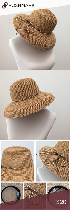 "🌺NEW LISTING Tan Summer Hat🌺 Gorgeous summer hat tan color w/twine ribbon design. Brand is Angela William. Tag reads one size & 100% paper (hat is sturdy).   Inside by black trim area measurement is about 22"" going around the black trim (if you pull black strings it does tighten fit a bit) & outer trim is about 4"" wide & is about 4 1/2"" tall.   Perfect condition.  Open to offers.   Thanks for browsing! Angela William Accessories Hats"