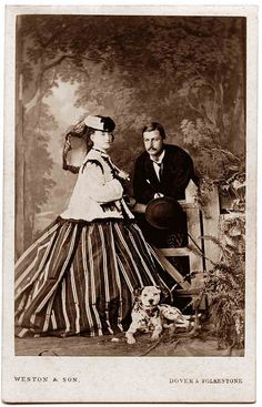 "1860's I have never seen a skirt and blouse this big before. I wonder if the woman is pregnant? They would hike their skirt over the stomach until the last few months, which was called ""their time of confinement"". I guess people knowing that you were pregnant was wrong? What on earth did they think babies came from?"