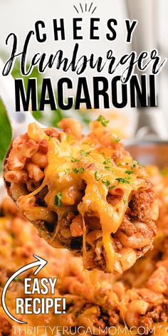 This Cheesy Hamburger Macaroni is super easy to make and is ready in just 30 minutes! It's meaty, cheesy and full of flavor- kind of a homemade Hamburger Helper but made with basic pantry staples. So delicious and sure to be a hit with the whole family! #thriftyfrugalmom #hamburgermacaroni #weeknightdinner Baked Meat Recipes, Macaroni Recipes, Side Recipes, Pork Recipes, Casserole Recipes, Pasta Recipes, Easy Homemade Recipes, Easy Dinner Recipes, Dinner Ideas