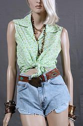 70's Greenery Button Up Top S/M