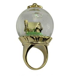 14k Gold Plated Snow White Snow Globe Ring. LE would love this on so many levels.