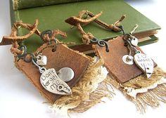 Handmade jewelry tribal earrings earrings leather art by boele, $44.00