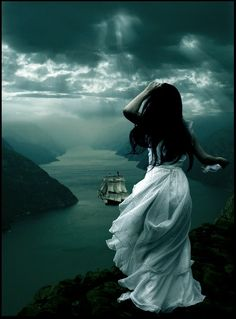 As I stood on the cliff, I looked out to sea where a grand vessel was sailing over the waves. Oh what I would do to be on that ship, sailing away from all my problems. Foto Fantasy, Dark Fantasy, Fantasy Art, Story Inspiration, Character Inspiration, Double Exposition, Pirate Life, Gothic Art, Conte