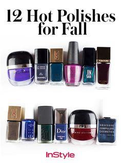 With the coming of fall, this means a mani makeover is in order. We'll be swapping summer's vibrant color palette for something a bit more autumnal. Here's an assortment of inky blues, smoky grays, metallic shimmers, and moody jewel tones that will add a chic accent to your cool-weather getups.