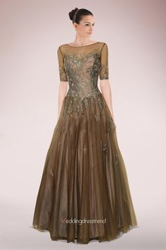 [$198.00] Exquisite A-Line Scoop Neck Floor-Length Tulle Mother of the Bride Dress With Lace Beading Sequins