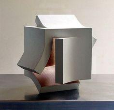 Conceptual Model Architecture, Concept Architecture, Architecture Design, Origami Architecture, Concrete Sculpture, Sculpture Art, Sculptures, Cube Design, Shape Design