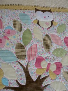 Owl Quilt - I love owls Baby Quilt Tutorials, Baby Quilt Patterns, Owl Patterns, Owl Quilts, Applique Quilts, Panel Quilts, Quilt Blocks, Quilting Projects, Quilting Designs