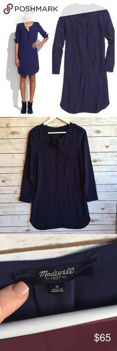 """MADEWELL Cargo Tunic Shift Dress - NAVY EUC Small. Approx 36"""" long, 19.5"""" bust. 100% Viscose. Navy color. Front pocket, Mandarin collar, buttons down all the way to the waist. Excellent condition. Ready for a new owner. Thank you for looking and please check out the rest of my closet. Madewell Dresses Midi"""