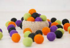 Halloween Felt Balls   100 Wool Felt Balls  40 by CraftyWoolFelt