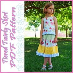 How to Sew a Quick and Easy Tiered Twirl Skirt PDF by tiedyediva