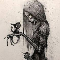 Creepy Drawings, Dark Art Drawings, Art Drawings Sketches Simple, Cool Drawings, Creepy Sketches, Scary Halloween Drawings, Diy Halloween, Halloween Decorations, Indie Drawings