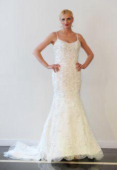 Spaghetti Strap Fit-n-Flare Wedding Dress | Yumi Katsura Spring 2015 | Kurt Wilberding/The Knot | The Knot Blog