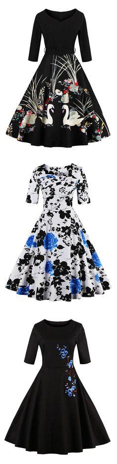 Clothink Women Vintage Floral Print 3/4 Sleeve Party Swing Dress