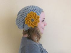 Slouch Beanie and Flower - free patterns! So cute together! thanks so for great share xox http://www.caron.com/vickiehowell/patterns/urban_jungle/urban_jungle.html