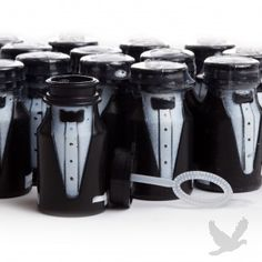"""Guys often feel """"neglected"""" during the wedding planning. Love this ideA Wedding Bubbles meets GQ!"""