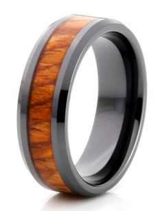 Men's Ring | Maui-The Incredible Koa Wood Inlayed in this black tungsten band. Unique & Stylish Fashioned Wedding Band.