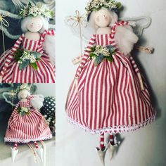 Handmade Christmas, Christmas Crafts, Christmas Decorations, Christmas Ornaments, Christmas Tree Fairy, Christmas Angels, Tiny Dolls, Tree Toppers, Plush Dolls