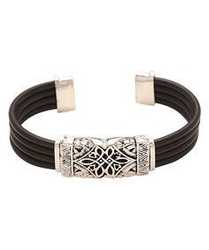 Silvertone & Black Engraved Square Bead Bracelet by MexZotic #zulily #zulilyfinds. Use as tattoo flourish on right wrist