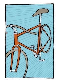 "Scorcher Bike Print by Cricket Press 6x8"" $10"