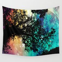 Wall Tapestries featuring Black Trees Colorful Space by 2sweet4words Designs