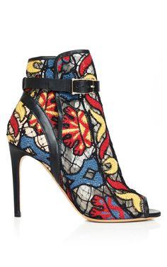 Black Rete Embroidered Bootie by Valentino for Preorder on Moda Operandi
