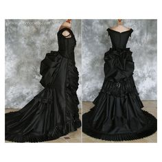 Gothic Victorian Bustle Gown with Train by Alice-Corsets ❤ liked on Polyvore featuring costumes, gothic halloween costumes, victorian vampire costume, alice in wonderland costume, victorian halloween costumes and masquerade halloween costume