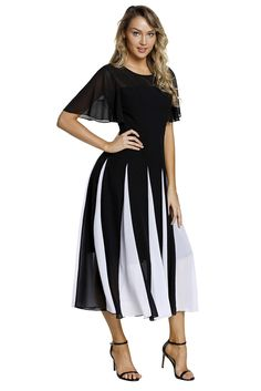 cdd0b4a41a8 Black White Hemline Patchwork Fit-and-flare Chiffon Dress. Cheap Dresses  OnlineCasual Summer DressesDresses For ...