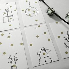 GOLDIE GIFT TAGS - SET OF 5 -free postage on Europe and UK delivery until on orders over All other overseas …please contact us on a special deal Simple Christmas Cards, Christmas Card Crafts, Homemade Christmas Cards, Handmade Christmas, Homemade Cards, Kids Christmas, Stampin Up, Folders, Selling Handmade Items