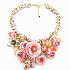 29,90EUR Blumenkette Kette mit Blumen rosa