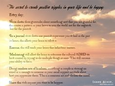 The secret to great positive ripples...