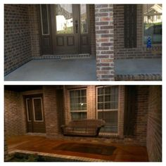 Acid stained concrete front porch. Before and After