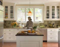 Monterey Traditional Kitchen: Traditional millwork details such as painted flush Kitchen Tile, Kitchen Redo, Kitchen And Bath, New Kitchen, Kitchen Ideas, Kitchen Inspiration, Design Inspiration, Eclectic Kitchen, Kitchen Interior
