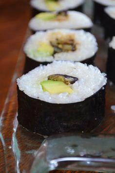Wasabi-fried Eggplant and Avocado Sushi Rolls