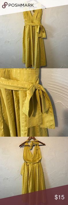 Yellow Midi Halter Dress with Low Open Back Such a cute summer dress ☀️ Never worn! NWOT Forever 21 Dresses Midi