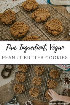 Easy, Five-Ingredient Vegan Peanut Butter Cookies - Living in Color Vegan Dessert Recipes, Vegan Breakfast Recipes, Vegan Snacks, Eat Breakfast, Cookie Recipes, Snack Recipes, Vegan Peanut Butter Cookies, Peanut Cookies, Five Ingredients