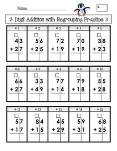 "Created for elementary age students, this is 4 pages of addition and subtraction problems set up in a grid with boxes for ""regrouping""/""carrying""/""borrowing."" The grid format helps students keep their columns lined up, and the boxes will aid them in remembering to ""carry"" or ""borrow"" tens. Use this for homework or as an in-class assessment for students."