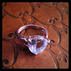 Aqua Ring In Sterling Silver Gorgeous ring with aqua stone set in 925 Sterling size 8 Jewelry Rings