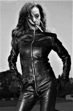 Where I put what happens when the internet and my dirty little mind connect. Love to chat! Inbox me! Smoking Ladies, Girl Smoking, Girls Smoking Cigarettes, Leather Jumpsuit, Gloves Fashion, Leder Outfits, Leather Gloves, Leather Jacket, Leggings